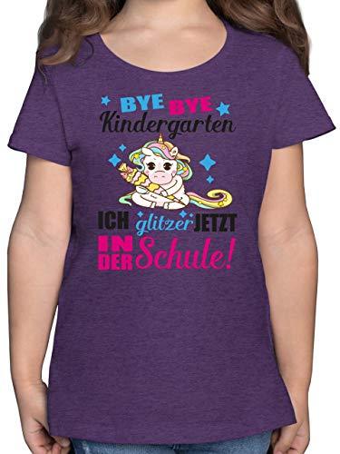 Einschulung und Schulanfang - Ich Glitzer jetzt in der Schule Einhorn mit Schultüte - Fuchsia - 164 (14/15 Jahre) - Lila Meliert - schultüte Glitz - F131K - Mädchen Kinder T-Shirt