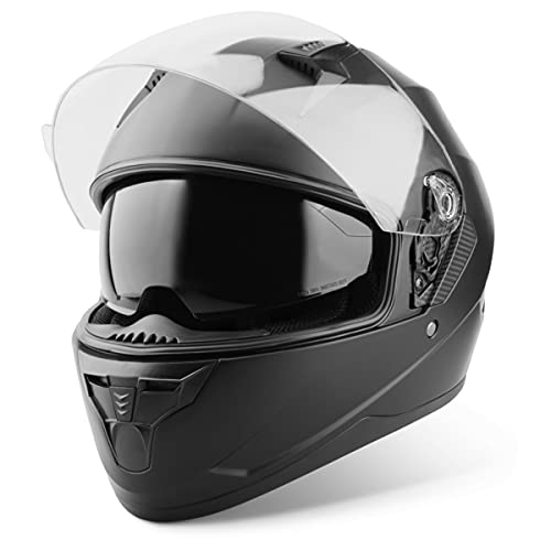 Vinz Kennet Integralhelm mit Sonnenblende | Motorrad Helm Vollvisierhelm Mopedhelm | Motorradhelm Full-Face Helme | In Gr. XS-XL - Matt Schwarz