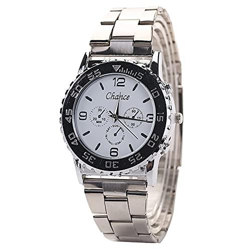 cloudbox Reloj de cuarzo - Casual de moda hombres de aleación redonda correa de cuarzo reloj de pulsera (blanco)