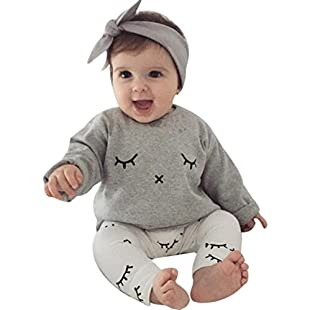 Sixcup  Baby Long Sleeves Hoodie+Long Pants+Headbands Newborn Clothes, Boys & Girls Outfits 0-24 Months Infant Playsuits Tops Kids Jumpsuits+Trousers+Hats Toddlers Bodysuits (6-9 Months, Gray)