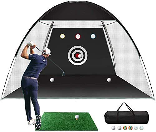 AIWEILUCK Golf Net for Backyard, 10x6.6x6ft, Golf Practice Net with Target, Golf Hitting Training Aids Nets with Carry Bag and Golf Balls for Backyard Driving (Golf Net with Target, Mat, Ball)