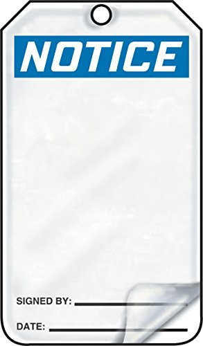 Accuform MDT811LCM PF-Cardstock Safety Tag, Legend'Notice (Blank)', 5.75' Length x 3.25' Width x 0.010' Thickness, Blue/Black on White (Pack of 5)