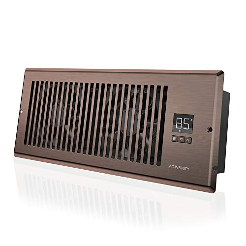 """AC Infinity AIRTAP T4, Quiet Register Booster Fan with Thermostat Control. Heating Cooling AC Vent. Fits 4"""" x 12"""" Register Holes."""