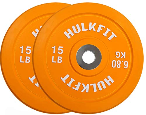 HulkFit Color Coded Olympic 2-Inch Rubber Bumper Plate with Steel Hub for Strength Training, Weightlifting and Crossfit, Single (15 Pounds)