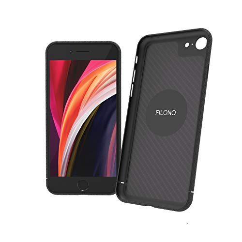 FILONO iPhone SE 2020 Carbon Hülle ultradünn, hochwertig, schwarz-matt-chic