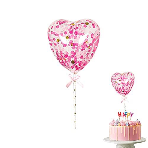 10 Stück Cake Topper Konfetti Ballon 5 Zoll Latex Luftballons Pailletten Aufblasbare Luftballons Mini Kuchen Luftballons Dekorative Konfetti Luftballons für Geburtstagsfeier Hochzeitstag Heart Pink
