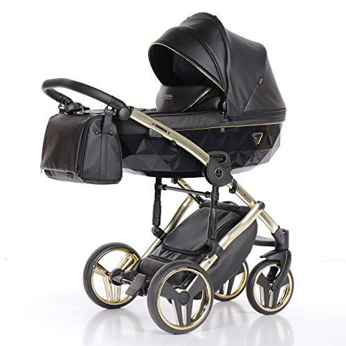 Cochecito de bebé Junama Diamond Fluo Line 3en1 carro trio (negro)