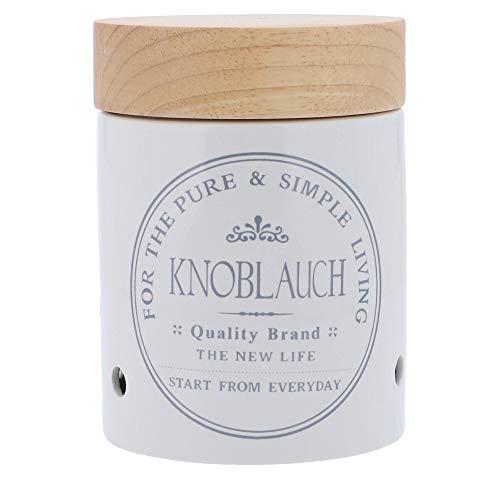 Knoblauch Vorratsdose weiß aus Keramik - Steingut mit Holz-Deckel