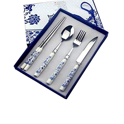 Shtsh Porcelana Azul y Blanca Set de Cubiertos, Acero Inoxidable de cerámica Palillos Cuchara Tenedor de Cuatro Piezas Caja de Regalo, Cocina Occidental Regalo portátil Filete Tenedor, Azul, el Mejor