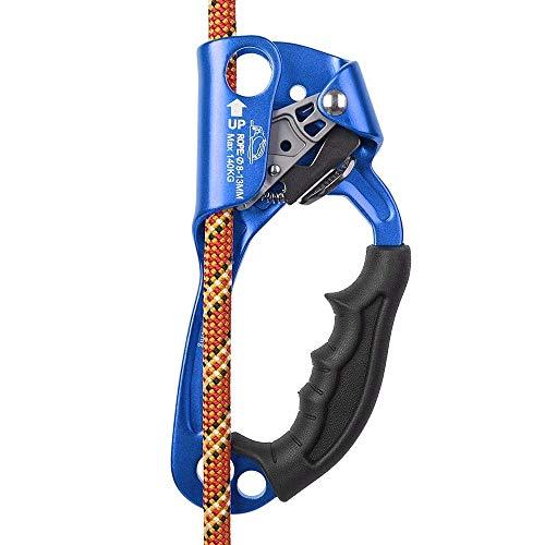 SZCQ SRT Climbing Equipment Hand Ascender Light Alloy Mountaineering Rock Ergonomic Rappelling Gear Handled Right asender Arborist Tree Climber Rigging (Blue,Right Hand)