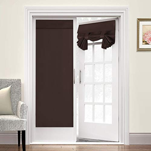 French Door Blackout Curtains Single Panel Curtain for Door Window Blackout Curtains for Privacy 26W x 68L Blackout Window Treatment Curtains Drapery for French Door - 2 Panel, Brown