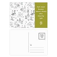 漫画の鳥マウンテンスターグラスツリー 詩のポストカードセットサンクスカード郵送側20個