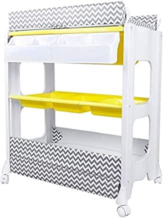 H yina Mobile Changing Table Dresser With Bathtub  White Baby Girl Boy Storage Station For Bathroom