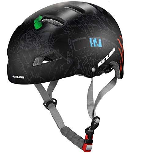 HomeDecTime Skaterhelm Fahrradhelm Herren Damen Sport Helm, PC-Hülle und EPS-Körper mit Kinnpolster, stoßdämpfende Sporthelm Scooter Radhelm - Schwarz