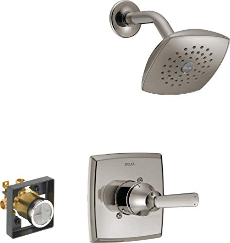 Delta Faucet Ashlyn 14 Series Single-Handle Shower Faucet, Shower Trim Kit with Single-Spray Touch-Clean Shower Head, Stainless T14264-SS (Valve Included)