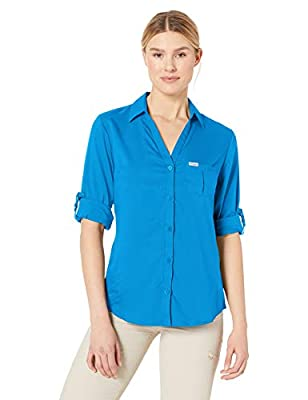 Columbia Women's Armadale Long Sleeve Shirt, Harbor Blue, X-Large