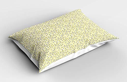 ABAKUHAUS Citroen Siersloop voor kussen, Citrus Blossoms Vitamine C, standaard maat bedrukte kussensloop, 65 x 50 cm, Aarde Geel Grijs