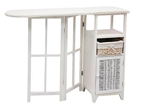 BUAR ARTESANOS Planchero DUERO Mueble para Planchar Mimbre y Madera Blanco (40/110x36x87 cm.)