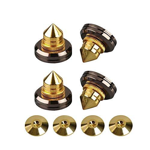 Flushbay 4個セット インシュレーター スパイク 金属製 スピーカー スパイク受け 高さ 調整可能 インシュレーター スピーカー用 オーディオ 音質 向上 (ゴールド)