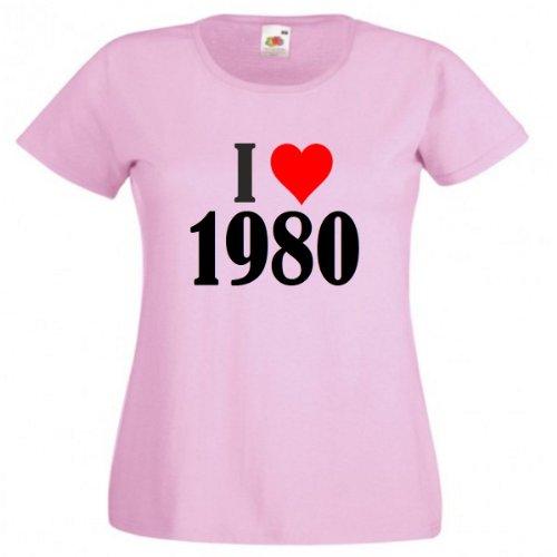 Camiseta I Love 1980 para mujeres y niños en los colores negro y blanco y rosa rosa S