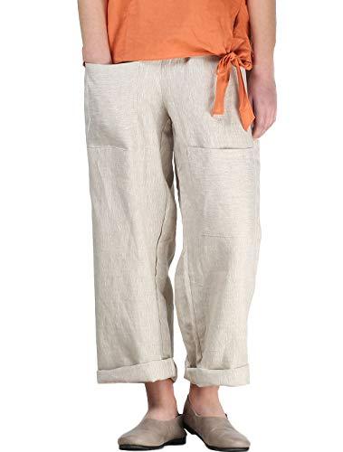 Mordenmiss Women's Casual Cotton Linen Pant w/Unique Pockets