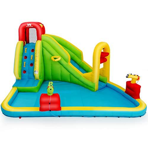 Goplus Castello Gonfiabile, Giocattolo Gonfiabile Grande per Bambini, Castello con Scivolo e Piscina Multifunzione, in Tessuto,400x335x230 cm