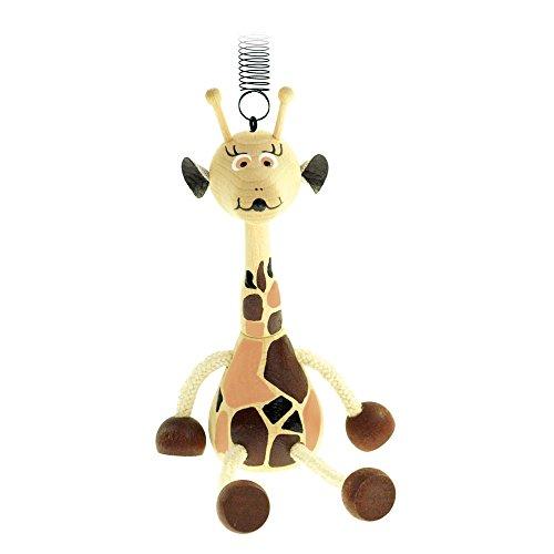 Bino & Mertens 90913 - Springfigur Giraffe aus Holz mit Feder und Holzring. Über Kinderbettchen, Wickeltisch oder der Zimmerdecke sorgt. Größe ca. 10x5x23 cm.