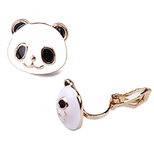 Stud Earring Soft Clip on Back Pads Cute Panda Face Golden Animal for Women Girls Kids Jewelry Gift Box