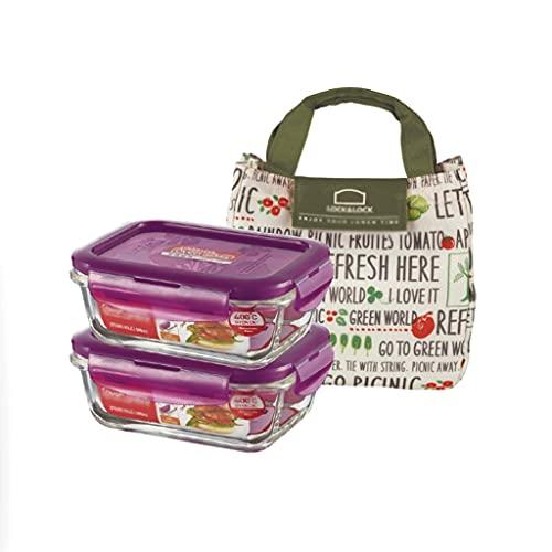 Fiambrera El almacenamiento de alimentos traje de caja de almuerzo de cristal transparente del hogar microondas refrigerador rizador del sello de...
