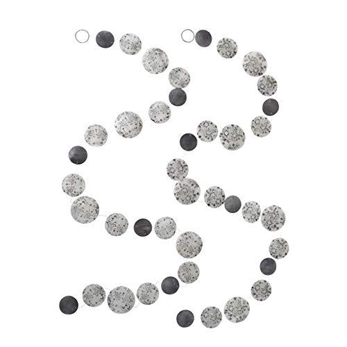 2er Set sort. Capiz Girlande L180cm grau weiß mit floralem Blumen Muster