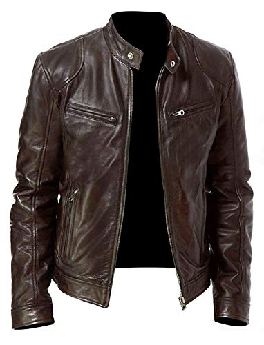 STOREJEES Vintage Brown Moto Biker Racer Jacket for Men - Premium Leather Retro Style Zip Up Closure Motorcycle Outfit (Large)
