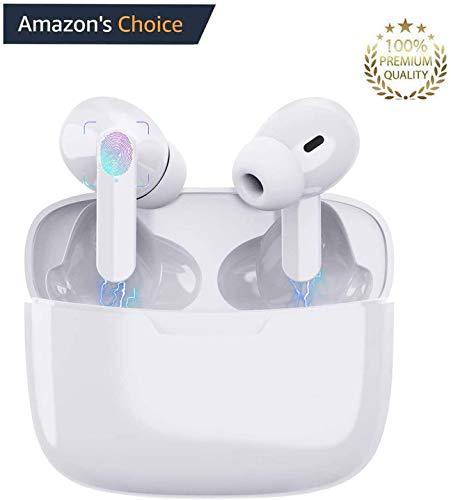 Bluetooth-Kopfhörer 5.0,Kabellose Kopfhörer IPX5 wasserdichte,Noise-Cancelling-Kopfhörer,Geräuschisolierung,mit 24H Ladekästchen und Mikrofon für iPhone/Android/Samsung/EarPods Pro