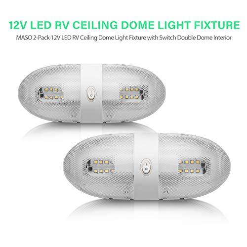 leurs Véhicules – Maso 2 x RV LED 12 V Luminaire plafond Camper Remorque Marine Unique dôme lumière avec interrupteur on/off – Remplacement des RV, camping-car, caravane, remorque – Lot de 2