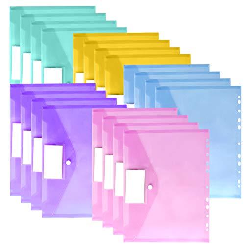20 pcs Cartellina Portadocumenti A4 Trasparenti,Cartellette File a4,A4 Cartellette,Porta Documenti A4,Cartelle a Busta Portadocumenti,Colore A4 Cartelle Plastica,Bottone per Documento