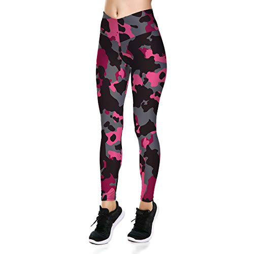 Fanii Quare Women's High Waist Dri-Fit Running Tights Printed Training Compression Workout Pants Pink Camouflage XL