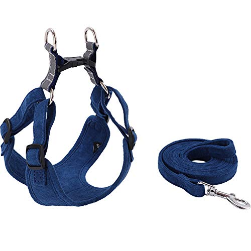 MSRVI Freedom No Pull Dog Harness and Leash Set - Suede Velvet Dog Harness Puppies Night Reflective Adjustable Dog Harnesses for Small Dogs Medium Dogs Large Dog Easy Walk Dog Harness Blue