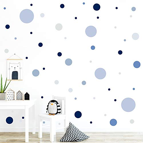 malango® 78 Wandsticker in vielen verschiedenen Farbkombinationen Punkte Kinderzimmer Wandtattoo Kreise Set selbstklebend dunkelblau-grau-blau