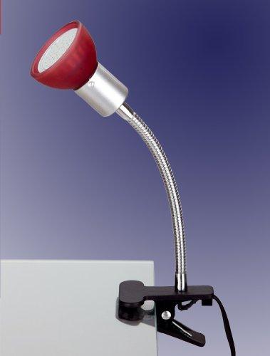 Trango 2989-012 LED Klemmleuchte, Tischleuchte, Leseleuchte, Clip Lampe mit rotem Glas Lampenschirm incl. 1x warmweiß GU10 LED Leuchtmittel 3 Watt ideal Nageldesign, Nagelstudio, Kosmetikstudio