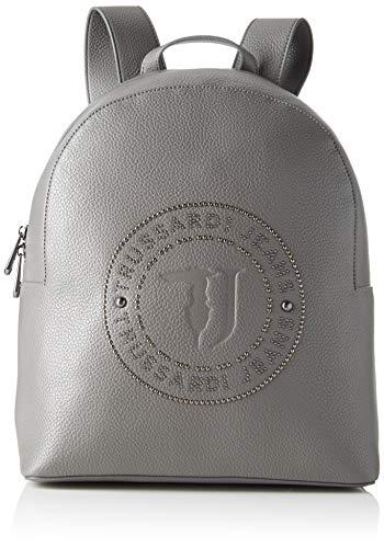 Trussardi Jeans Harper Backpack MD Tumbled Eco, Zaino Donna, Grigio (Anthracite/Gunmetal), 12.5x3x19 cm (W x H x L)