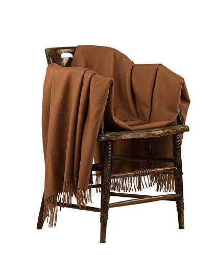 Klassich Leichte Decke Alpakadecke aus 100prozent Baby Alpaka Faser Wohndecke gewebt Sofadecke Tagesdecke Kuscheldecke (Braun)
