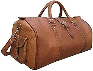 🌞 Sale! KC Handmade Pure Leather Luggage Duffel Travel Gym Overnight Weekend Leather Bag Classic Handmade Eco-Friendly Bag | Vintage Duffel Hand Luggage | with Free Shipping | Stock Limited