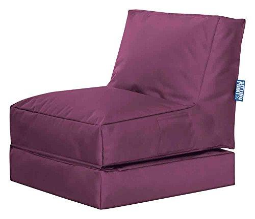 lifestyle4living Sitzsack für draußen in Lila aus wasserabweisendem Microfaserstoff | Bequemer Sitzsackstuhl und Liegesack, 300 l