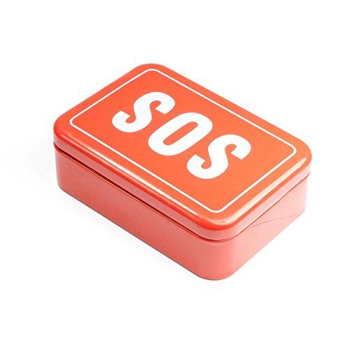 Blechbox Aufschrift SOS, SOS – Box, kleine Hilfsbox für Unterwegs, Outdoor Survival-Kit, Notfall, Selbsthilfe, SOS-Dose, Marke Ganzoo