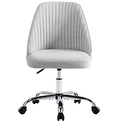 Home Office Chair, Mid-Back Armless Twill Fabric Adjustable Swivel Task Chair for Small Space, Living Room, Make-up, Studying