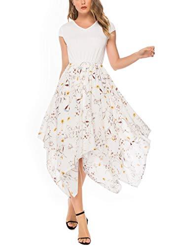Keven Damen Elegant Sommerkleid V-Ausschnitt Knielang Partykleid Chiffon Blumen Plissee Kleid (Weiß-2, XXL)
