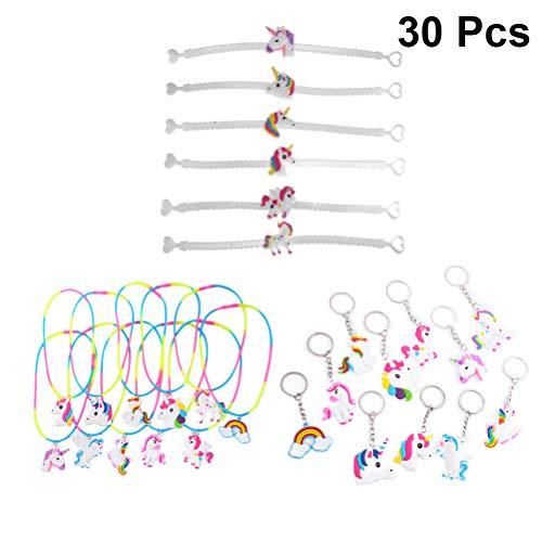 Toyvian Conjunto de Llavero de Unicornio Pulseras de Unicornio Collares de Unicornio para Regalo de Niñas de Fiesta de Cumpleaños y Piñata 30pcs