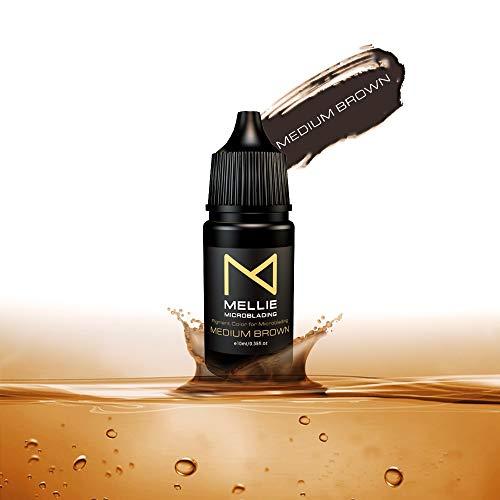 Mellie Microblading Pigment – Medium Brown 10 ml/.35fl.oz | Medical Grade | No Mixing | Long Lasting Tattoo Ink For Professionals PMU Supplies