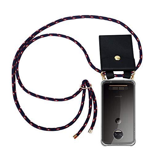 Cadorabo Handy Kette für Motorola Moto Z2 Force in BLAU ROT Weiss GEPUNKTET - Silikon Necklace Umhänge Hülle mit Gold Ringen, Kordel Band Schnur & abnehmbarem Etui – Schutzhülle