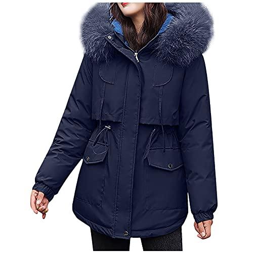 Dubras Women's Winter Warm Plus Size Fleece Lined Long Hood Jacket,Solid Color Jacket Zip Up Coat Fur Trimmed Hood Jacket Thick Fleece Coats Navy
