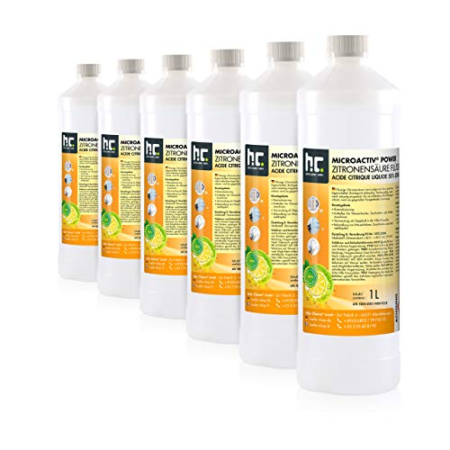 Höfer Chemie 6 x 1 Liter Zitronensäure 50% flüssig - in der praktischen 1 L Flasche